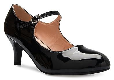 f9d0f4ae1f3 OLIVIA K Womens Classic Low Mid Heels Mary Jane Pumps - Adorable Round Toe Vintage  Retro