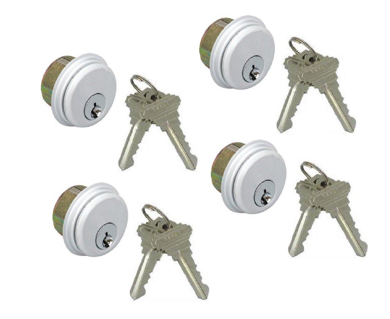 Pacific Doorware 4-Pack (Same keys) Mortise Lock Cylinders, Adams Rite Cam for Storefront Doors in Aluminum