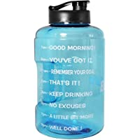 1 Gallon(128OZ) Water Bottle Inspirational Fitness Workout Sports Water Bottle with Time Marker Times for Measuring Your H2O Intake, BPA Free Non-Toxic,Leak Proof Lid