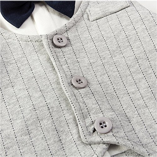 Fairy Baby Baby Boy Formal Outfit Short Sleeve Tuxedo Plaid Gentleman Suit,0-3M,Grey Stripe by Fairy Baby (Image #3)