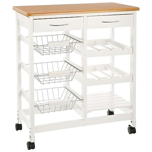 CULINATO® Carrito de cocina, carrito de servir en blanco de madera, 76 x 67 x 37cm (sobre ruedas con encimera y cajones)