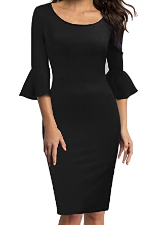 bfa517dffe5 WOOSEA Womens Flounce Bell Sleeve Scoop Neck Office Work Casual Pencil Dress  (Black