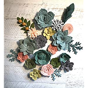 Wool Felt Succulents and Flowers - 18 Flowers & 4 leaves - Create Headbands, DIY Wreaths, Garlands, Vertical Gardens 49