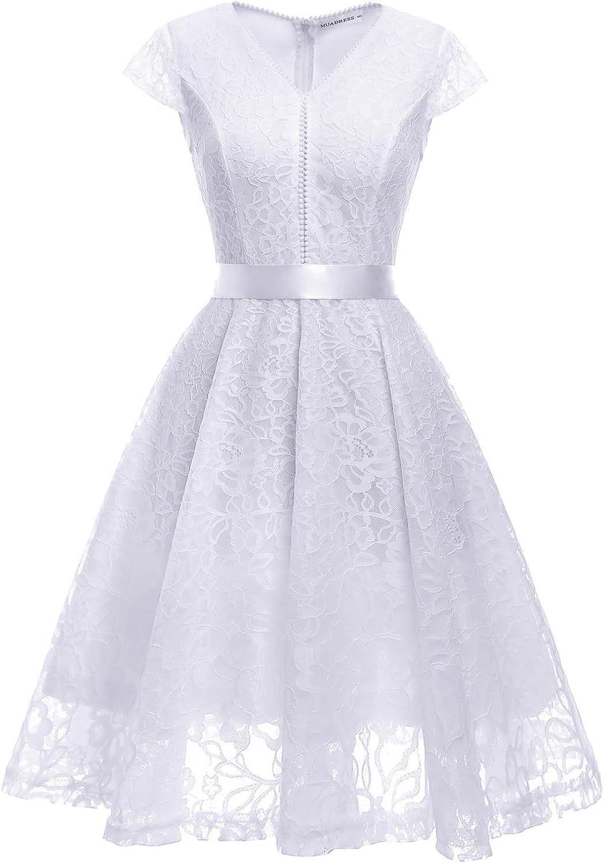 TALLA L. MUADRESS Fashion Vestido Corto De Fiesta Elegante Mujer De Encaje Escote en V Estampado Flor Vestido Boda Cóctel Blanco L