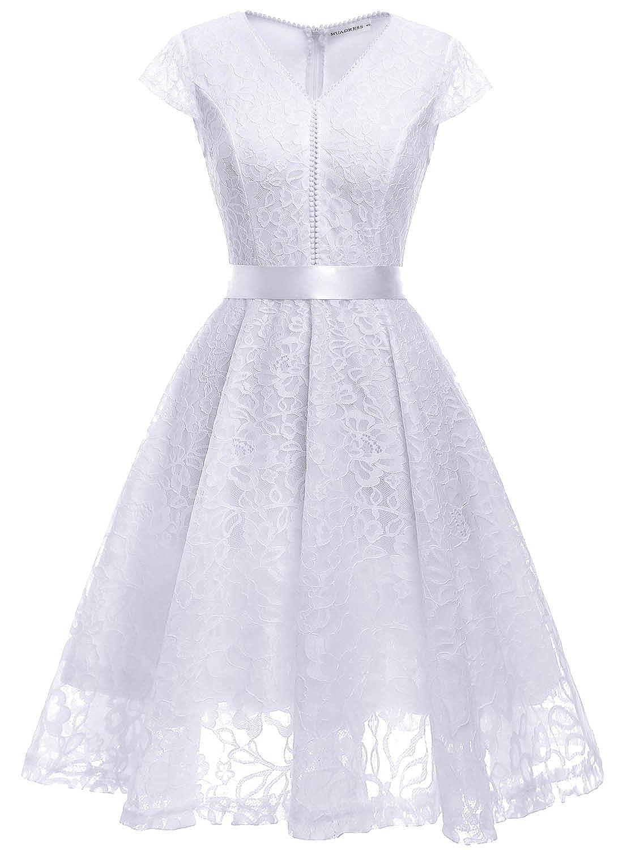 TALLA S. MUADRESS Fashion Vestido Corto De Fiesta Elegante Mujer De Encaje Escote en V Estampado Flor Vestido Boda Cóctel Blanco
