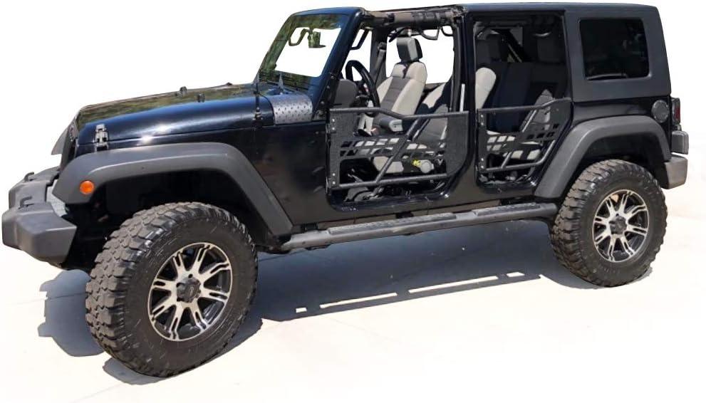 2007-2018 Black Steel Front /& Rear Tube Half Door Guards With Side View Mirror for Jeep Wrangler JK Unlimited 4-Door