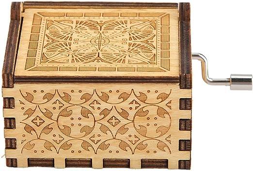 Manivela Caja de música Clásico Antiguo Madera Tallada Cajas ...