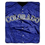 Colorado Rockies 50x60 Royal Plush Raschel Throw Fleece Blanket - Jersey Design - MLB Licensed