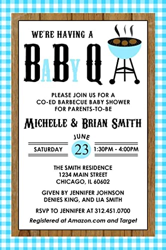amazon com baby q baby shower invitations barbecue baby shower