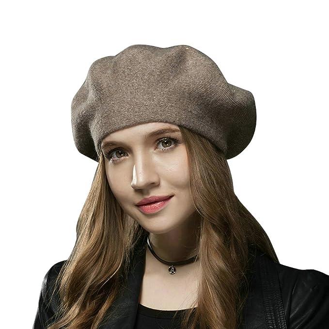 FLY HAWK Cappello Donna Invernali Baschi di Lana Elegante - Berretto Vintage  Donna Ragazze Caldo Stile Francese 1665404c4d0a