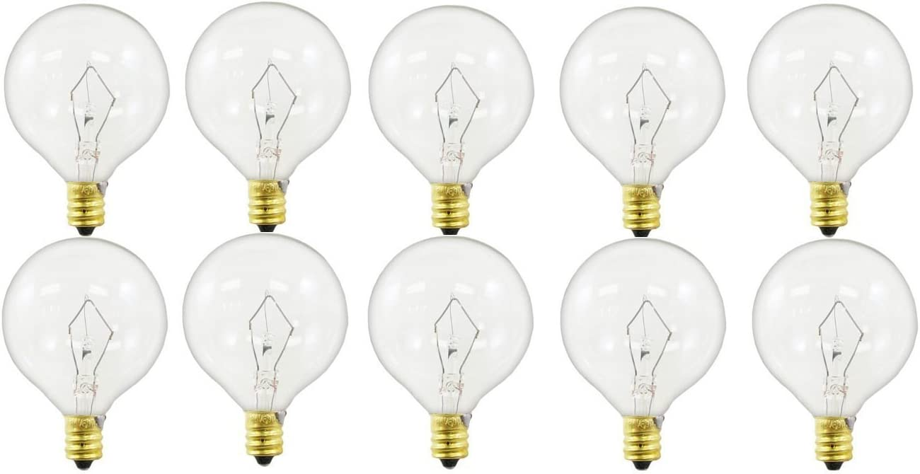 60-watt G16.5 Decorative Globe E12 Candelabra Base Light Bulbs, Crystal Clear, 10-Pack