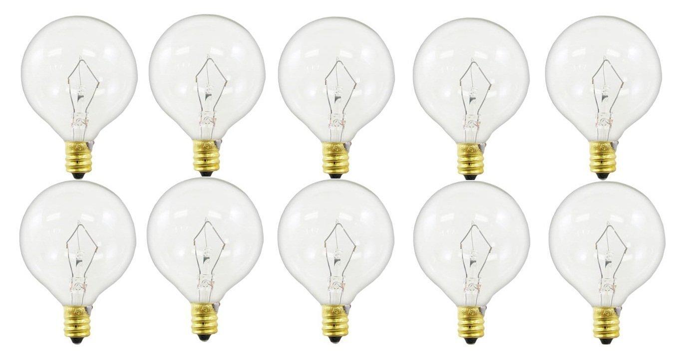 60-watt G16.5 Decorative Globe E12 Candelabra Base Light Bulbs, Crystal Clear, 10-Pack