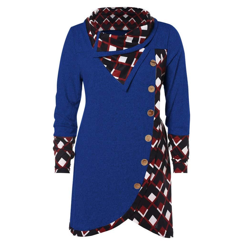 SEWORLD Elegant Kleid Damen Heiß er Einzigartiges Design Mode Beilä ufiges Bluse Langarm Rollkragen Tartan Tunika Sweatshirt Pullover Tops Oberteil SEWORLD Damen