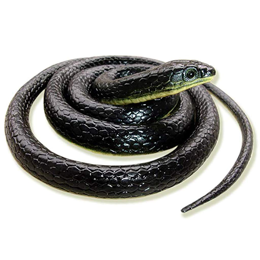 CreazyBee Realistic Fake Rubber Toy Snake Black Fake Snakes 50 Inch Long April Fool's Day (Black) by CreazyBee