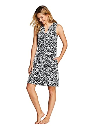 c54050c1b1 Lands' End Women's Cotton Jersey Sleeveless Tunic Dress Swim Cover-up  Print, XS