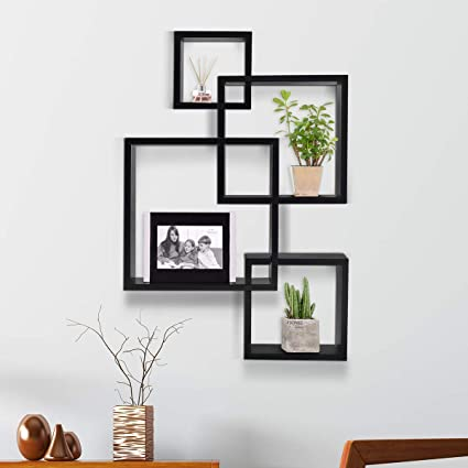 Kundi Intersecting Floating Shelves 4 Cube Square Wall Mounted Shelves Wood Home Furniture Accent Decorative Wall Shelf Black 47 Cm X 10 Cm X 65 Cm Black Modern7 Amazon In Furniture