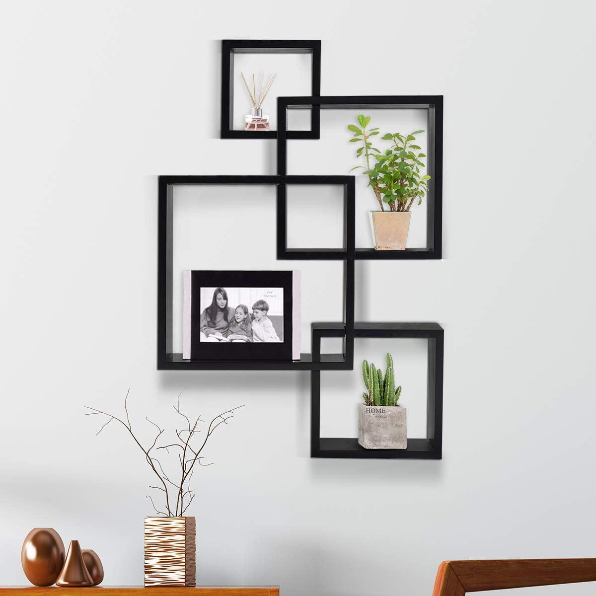 Kundi Intersecting Floating Shelves 4 Cube Square Wall Mounted Shelves Wood Home Furniture Accent Decorative Wall Shelf Black 47 Cm X 10 Cm X 65 Cm Black Modern7 Buy Online In Austria
