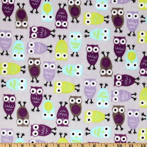 - Robert Kaufman Shannon Kaufman Minky Cuddle Night Owls Saltwater/Viole Fabric By The Yard
