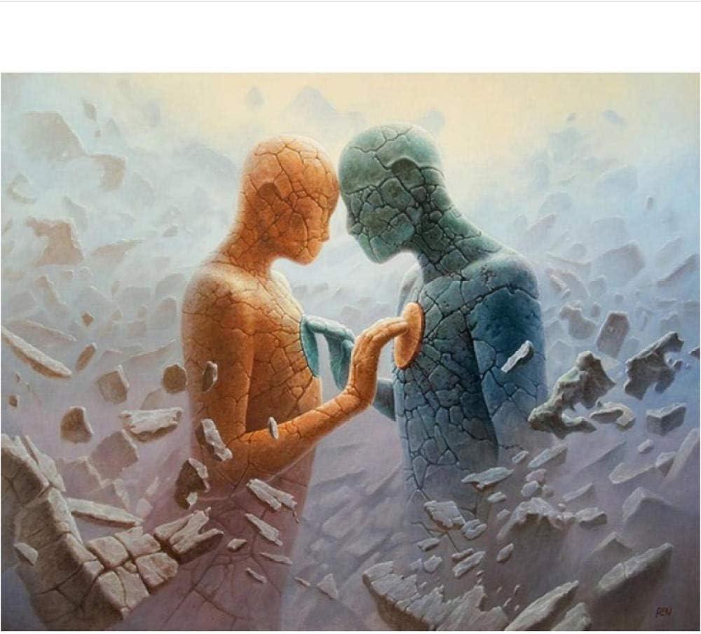 Bawangbieji Dipingere con i Numeri Uomo di Pietra DIY Pittura a Olio Digitale per Adulti e Bambini Fai da Te Arte Decorazione della Casa Regalo 16x20 Pollici 40x50cm