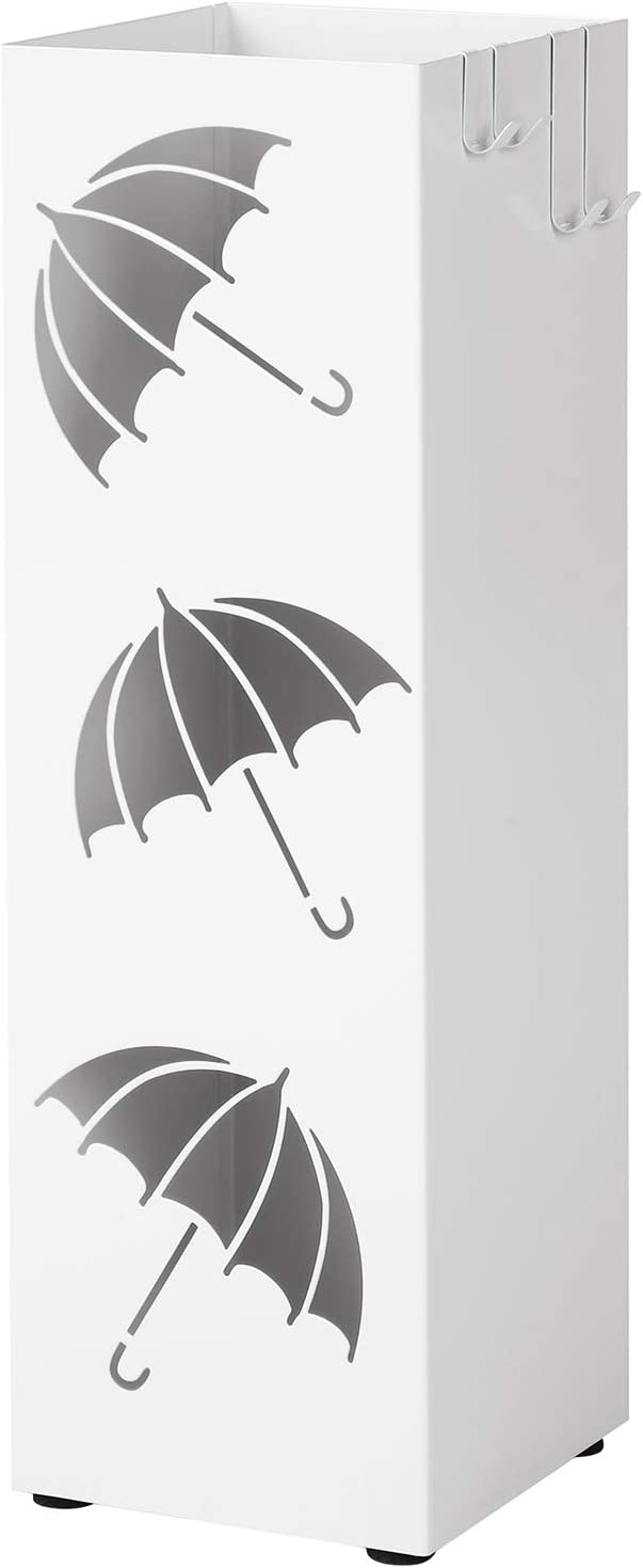 SONGMICS Metal Umbrella Stand, Square Umbrella Holder Rack, with Hooks and Drip Tray, 15.5 x 15.5 x 49 cm, White LUC26W