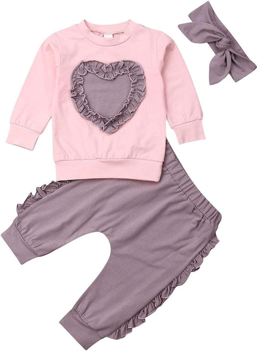 3PCS Newborn Infant Baby Girls Clothes Long Sleeve Sweatshirt Tops Long Pants with Headband Outfits Set