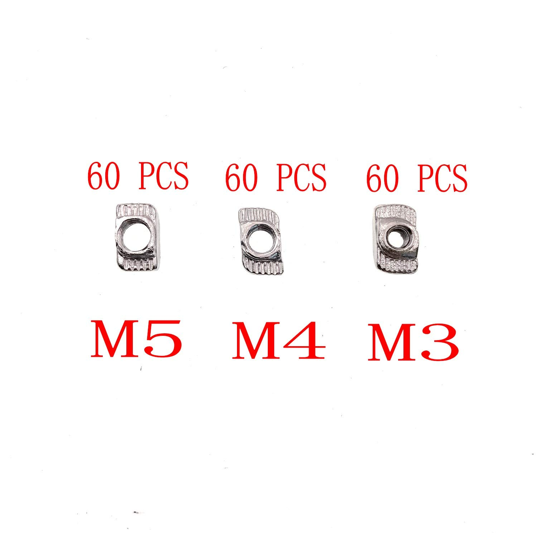 para Ranura en T Y Accesorios de Perfil de Aluminio,M3//M4//M5 con 4 Llave Allen 180 Piezas Tuerca Con Ranura En T Tuercas de Acero de Carbono Tuerca de Cabeza de Martillo