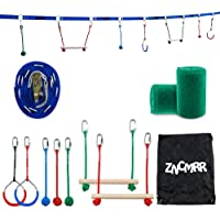 ZNCMRR Outdoor Backyard Ninja Line Hanging Obstacle Course,Ninja Warrior Training Equipment for Kids,40 FT Slackline Kit with 2 Monkey Bars,2 Gymnastic Rings &3 Fists