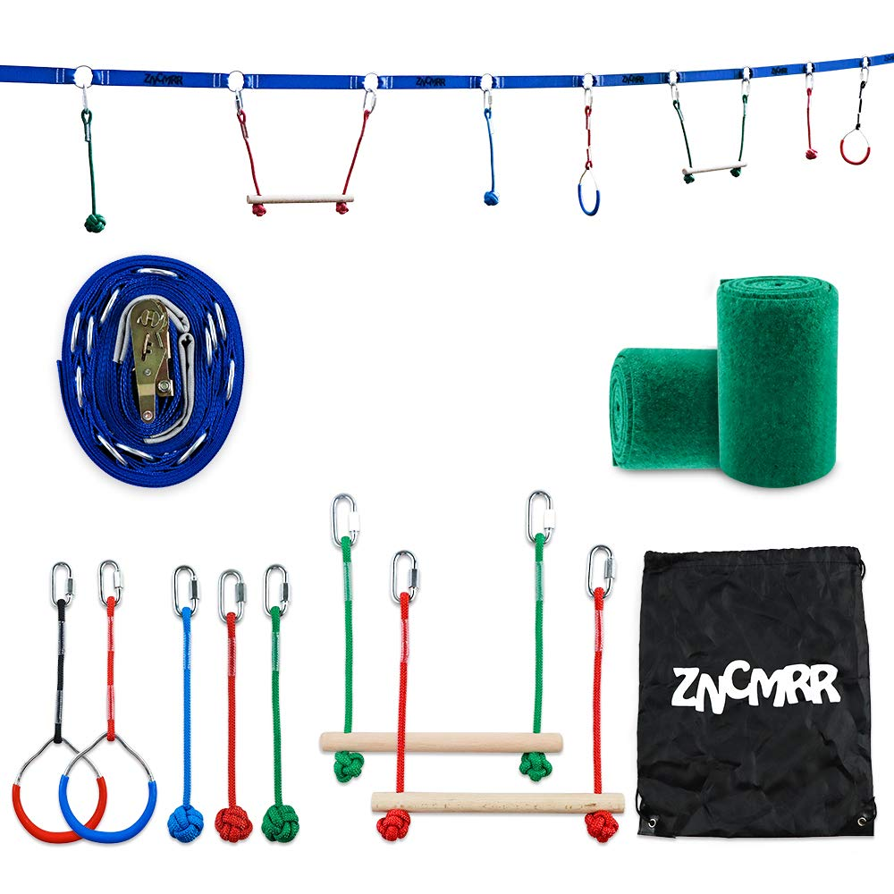 ZNCMRR Outdoor Backyard Ninja Line Hanging Obstacle Course,Ninja Warrior Training Equipment for Kids,40 FT Slackline Kit with 2 Monkey Bars,2 Gymnastic Rings &3 Fists by ZNCMRR