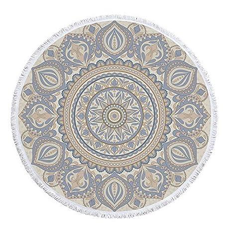 GSYAZTT Biki Hippie Boho Macrame Redondo Toallas de Playa para Adultos Swim Microfibra Tejido Grande Yoga Mat Home Textile Color1 150X150Cm: Amazon.es: ...