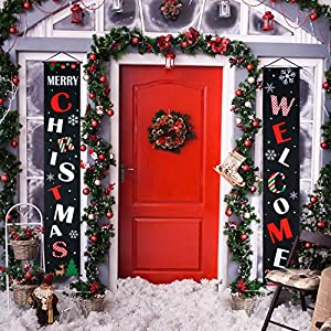 Blulu Christmas Decoration Set Christmas Porch Sign Welcome Merry Christmas Banner Christmas Hanging Decoration for Indoor/Outdoor Christmas Decoration Christmas Party (Color 2)