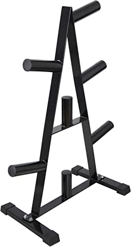 ZENY Barbell A Frame Weight Plates Rack Steel Olympic Plate Tree Stand Weight Storage Holder Weight Tree 2 Plates