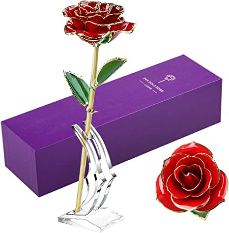 Long Stem Dipped 24k Gold Rose in Gift Box with Clear Display Stand Pink