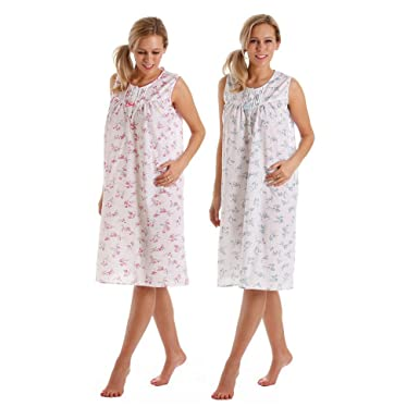 Ladies Poly Cotton Sleeveless Nightdress   Nightie White With Pink or Blue  Floral Design. Sizes 10 12 14 16 18 20 22 24 (10 12 - 41