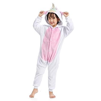 WhiFan Franela con Capucha Pijama Unicornio Animal Pijama Entero Adulto Niños Pijamas Unisexo Traje para Mujer Hombre Disfraz para Navidad