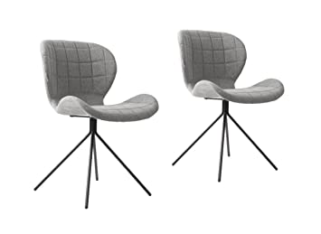 Zuiver Chair Omg Light Grey Set Of 2 Polyester 51 X 56 X 80 Cm