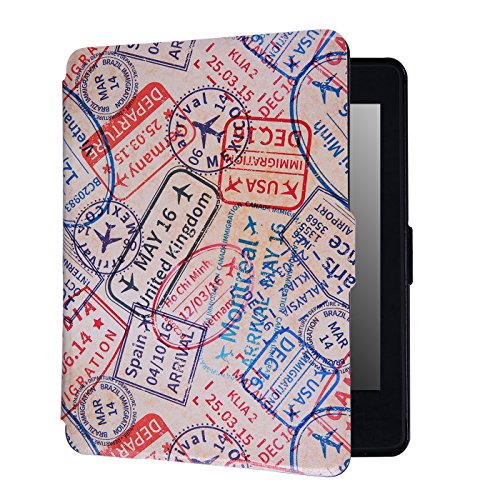 HDE Case for Kindle Paperwhite (2016, 2015, 2013, 2012) – Ultra Slim Cover Auto Sleep/Wake Smart Shell for All-New Amazon Kindle Paperwhite (Fits All Versions) - Passport Stamps