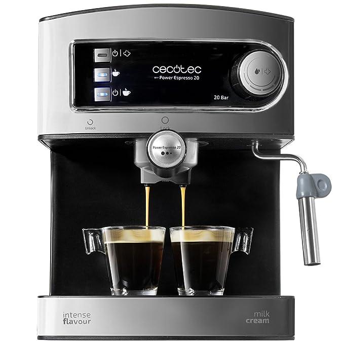 Cecotec Cafetera Espresso Power Espresso 20. Presión 20 Bares, Depósito de 1,5l, Brazo Doble Salida, Vaporizador, Superficie Calientatazas, Acabados ...
