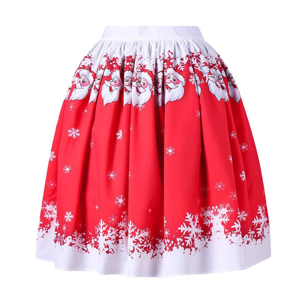 Womens Dress,KIKOY Sexy Christmas Santa Printed Evening Party A-Line Loose Skirt