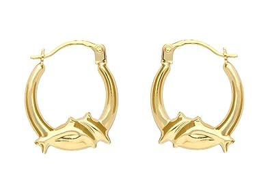 Adara 9 ct Gold Heart Wing Creole Earrings Hcx3gOoh