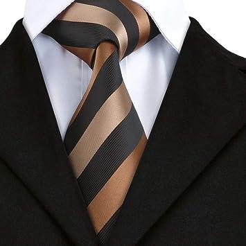 AK Tie Sn-585 del chocolate Negro Hombres de Tan lazo rayado del ...