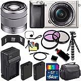 Sony Alpha a6000 Mirrorless Digital Camera with 16-50mm Lens (Silver) + Sony SEL 1855 18-55mm Zoom Lens + 64GB Bundle 15 - International Version (No Warranty)