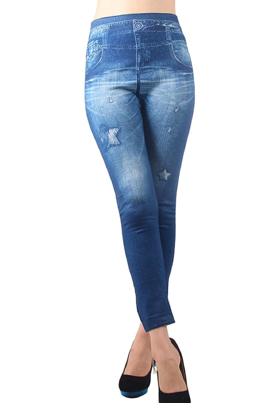 """(Bleu) Leggings Jeans des femmes Effet avec impression Star Pantacollant One Size idée cadeau"""","""