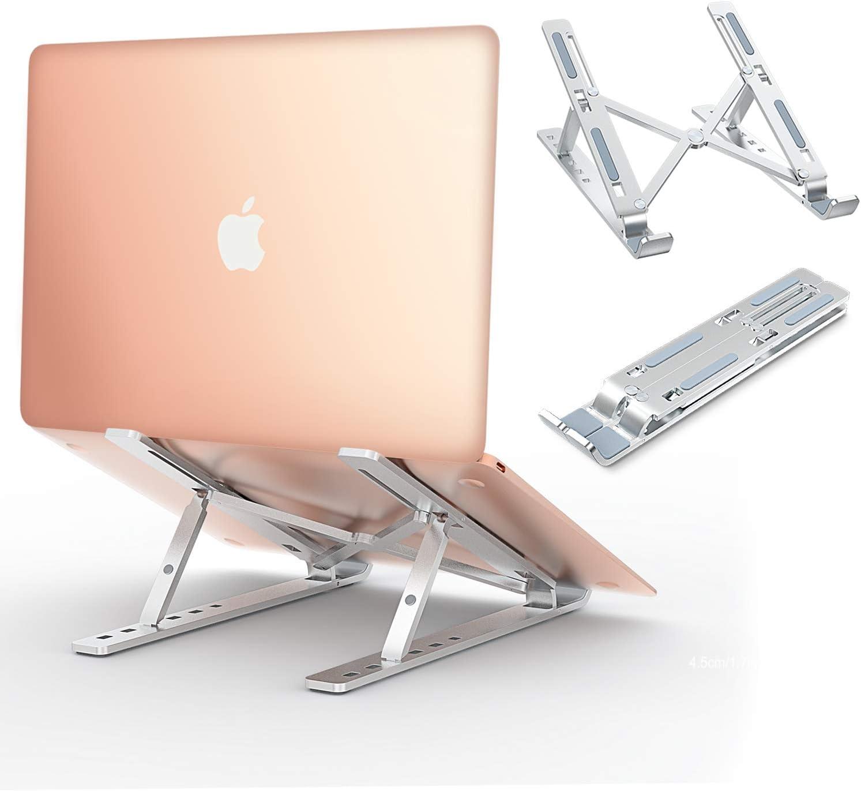 """Babacom Soporte Portátil, Aluminio Ventilado Soporte Ordenador Portátil Plegable, Ergonomic Adjustable Laptop Stand, Ligero Soporte Mesa para Macbook DELLXPS,HP, PC y Otros 10-15.6""""Portatiles"""