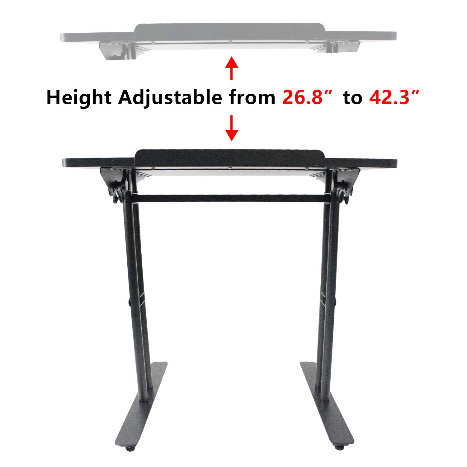 Heyesk Stand Up Desk Height Adjustable Home Office Desk with Standing (Black) by heyesk (Image #5)