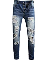 Amoystyle Men's Ripped Jeans Button Fly US 29-40
