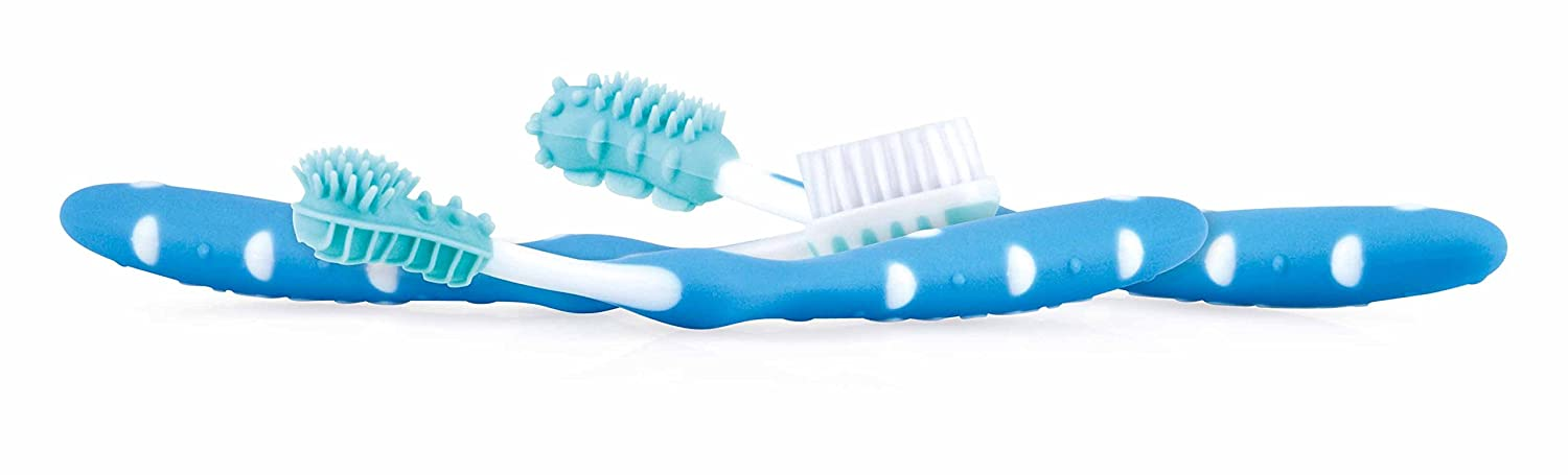 Nuby ID754BLUE - Set de 3 cepillos de dientes, 3+ m, color azul: Amazon.es: Bebé
