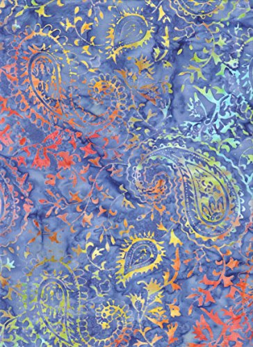 Timeless Treasures Daisy Yellow, Bright Orange Focus Paisley Batik ~ HALF YARD!! ~ Java Block Printed (Tjap Stamped) Party Bandana Paisley Bali Tie Dye (Ikat) Batik ~ Quilt 100% Cotton 44