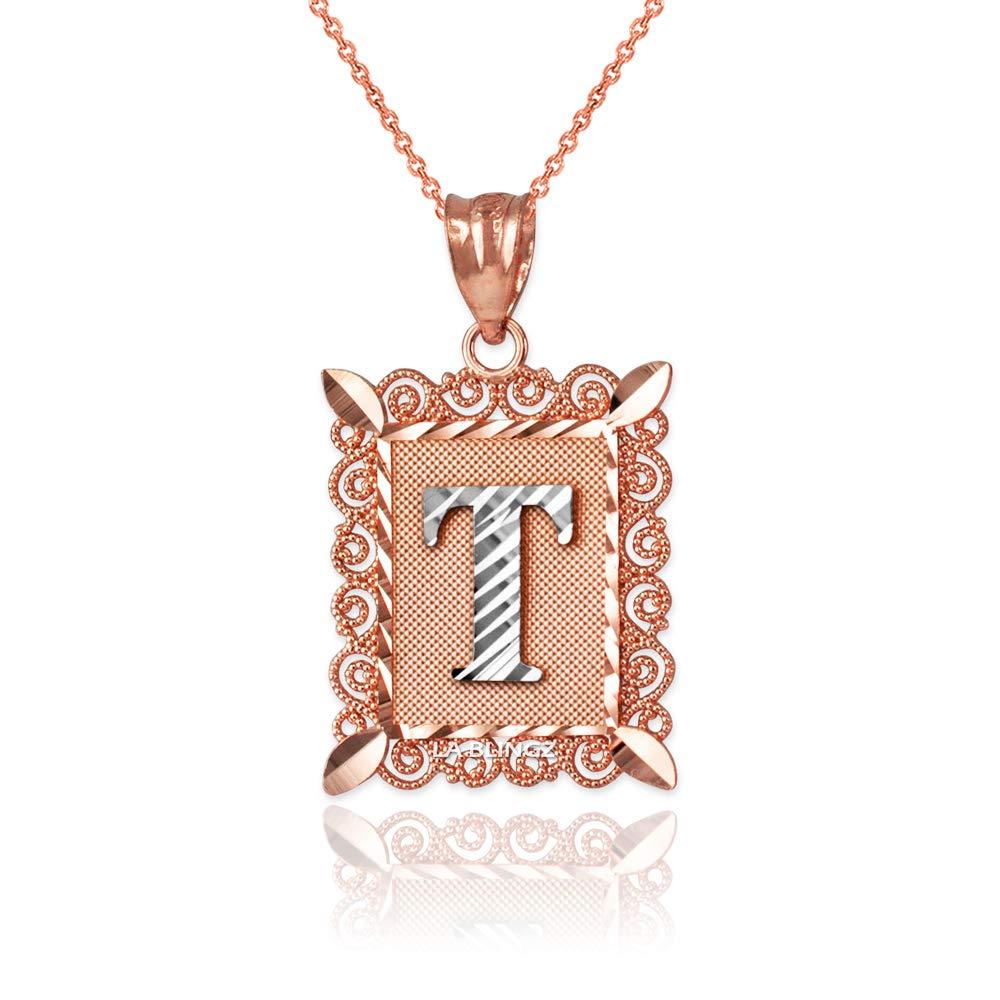 LA BLINGZ 10K Rose Gold Filigree Alphabet Initial Letter T DC Pendant Necklace