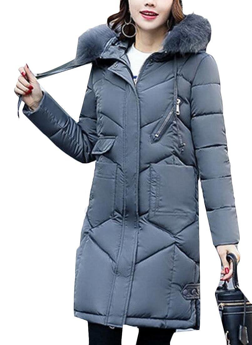 Gery Keaac Women's Warm Down Coat With Fur Hood Down Puffer Jacket