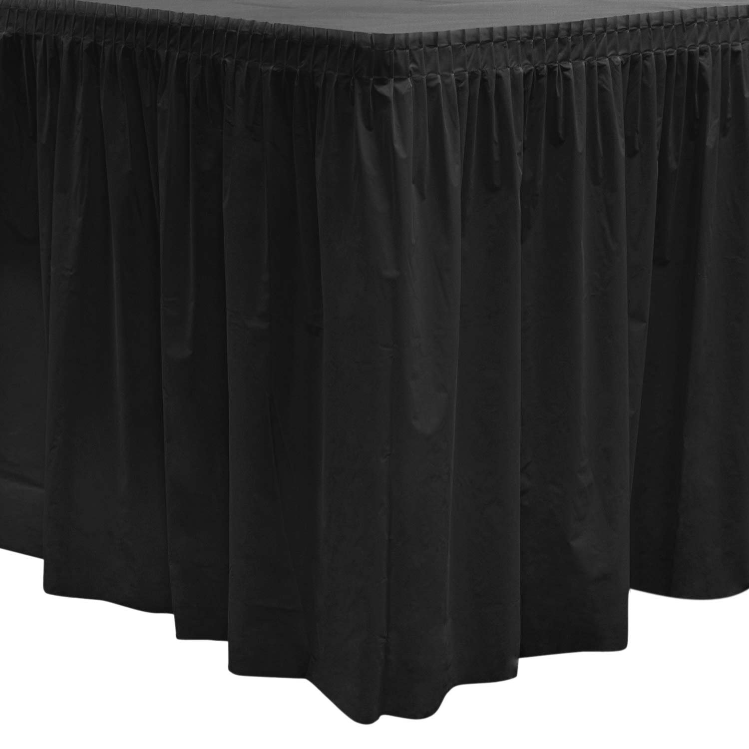 Party Essentials 2908 Plastic Table Skirt, 96'' Length x 29'' Width, Black (Case of 6)